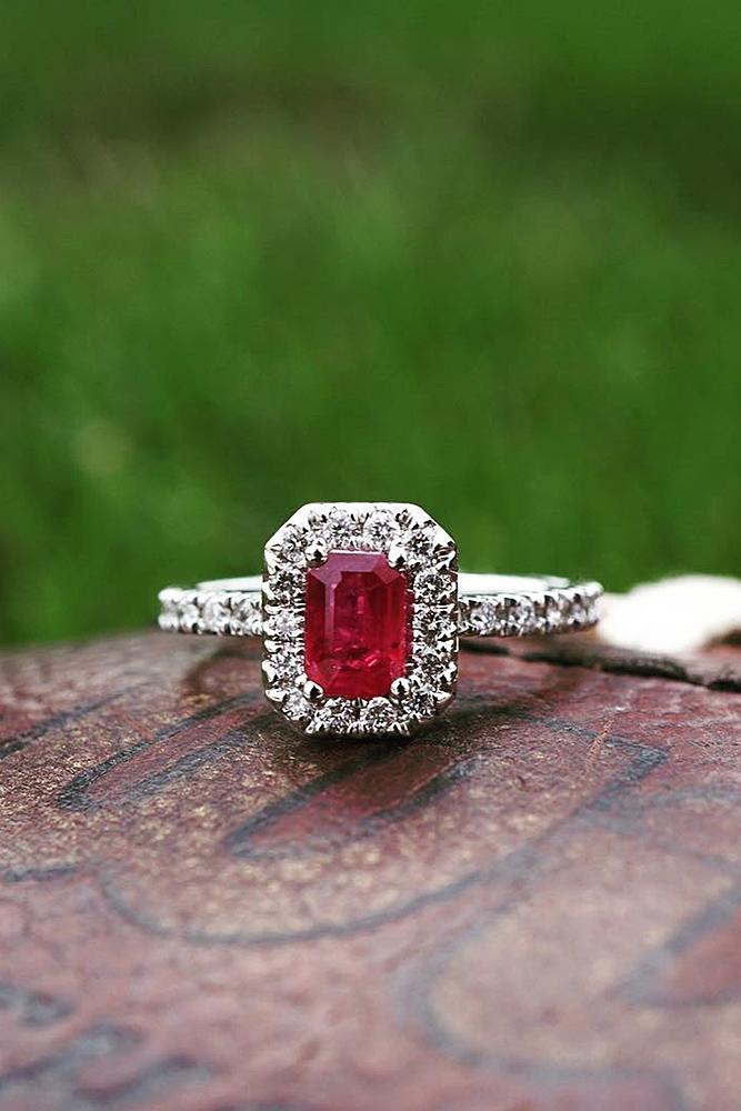 ruby engagement rings emerald cut halo white gold pave band