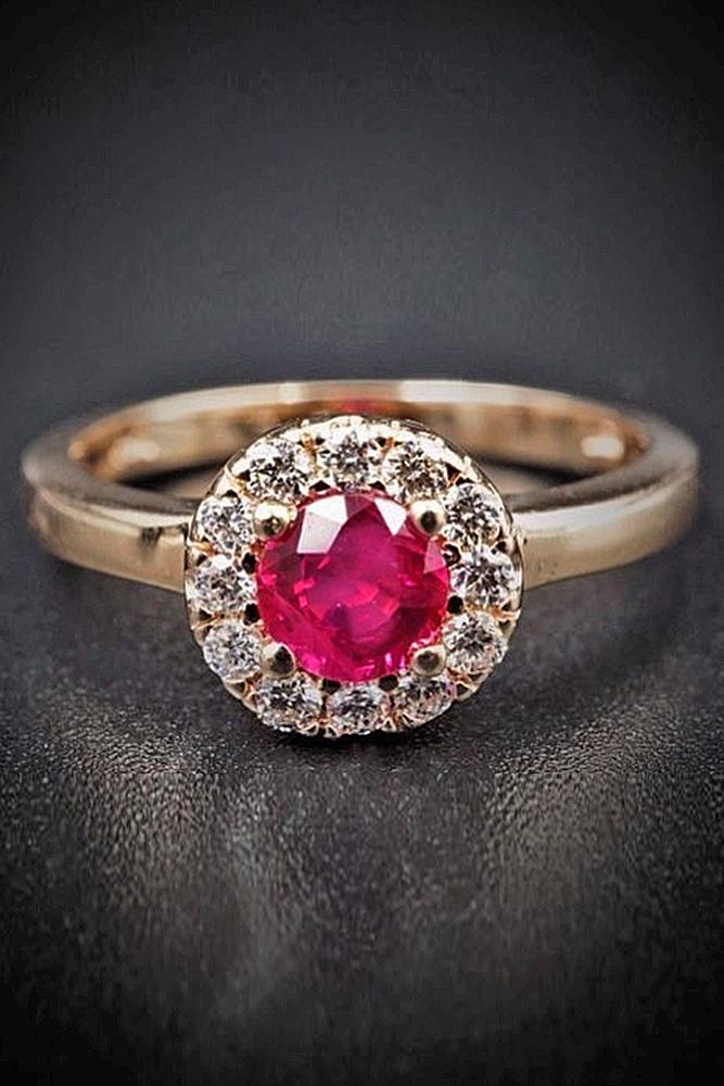 ruby engagement rings halo rose gold round cut