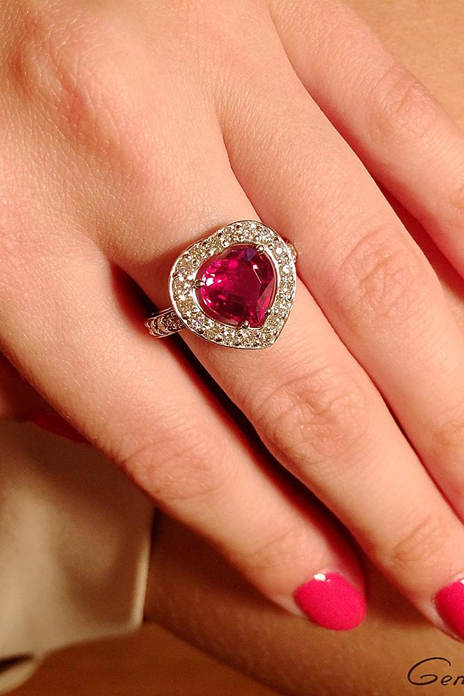 ruby engagement rings modern halo white gold pave band