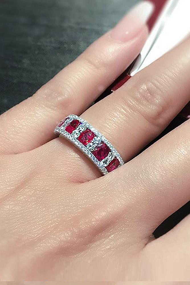 ruby engagement rings oval cut halo band