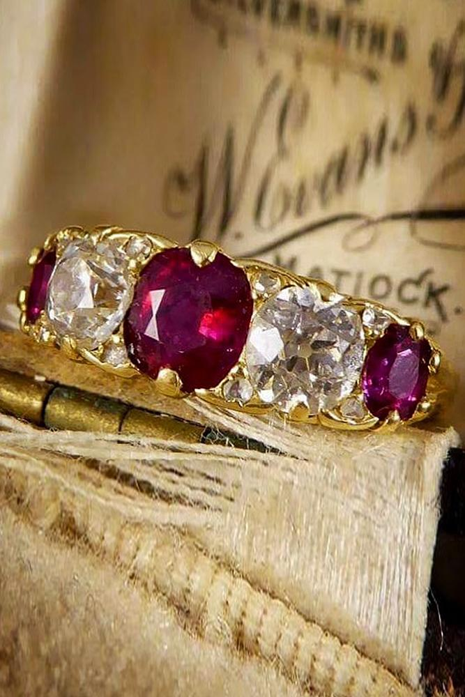 ruby engagement rings oval cut yellow gold vintage