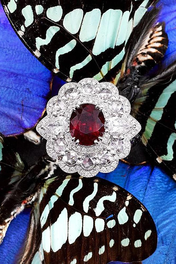 ruby engagement rings oval halo diamonds white gold vintage floral