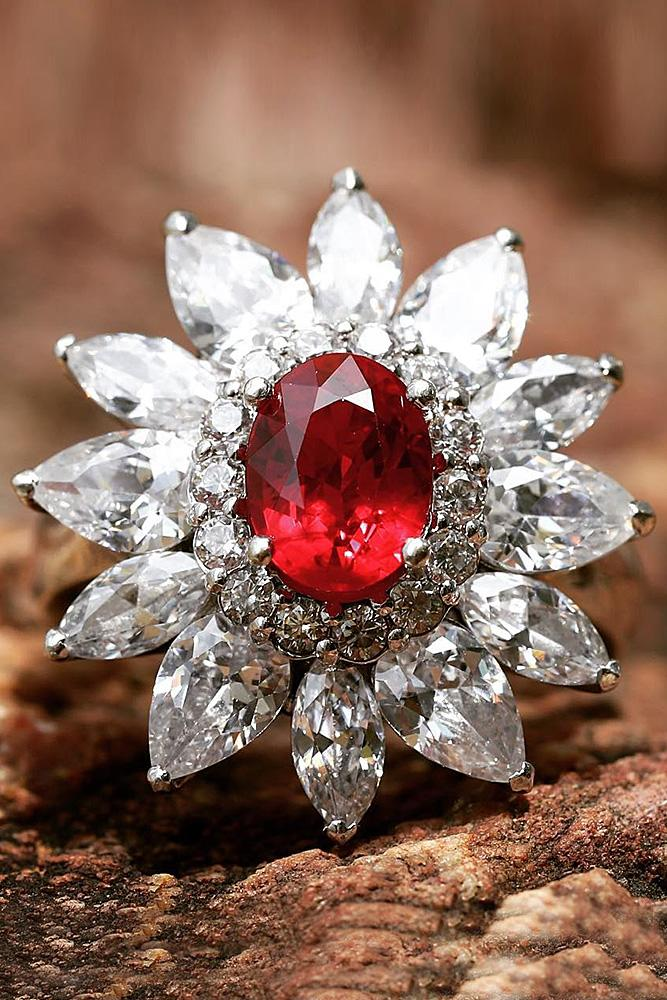 ruby engagement rings oval halo gold diamonds floral