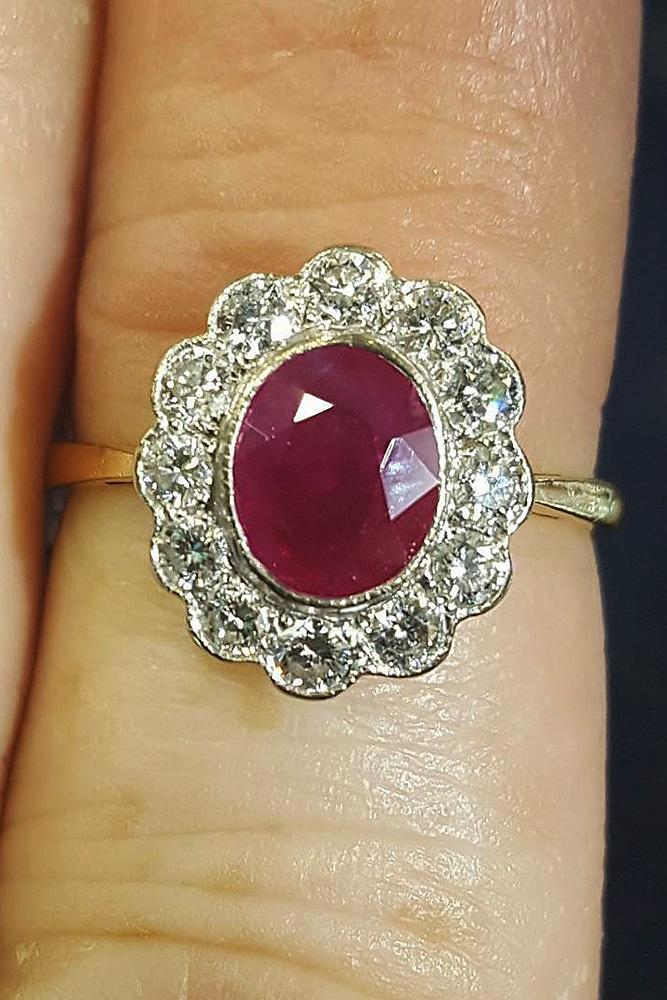 ruby engagement rings oval halo gold floral