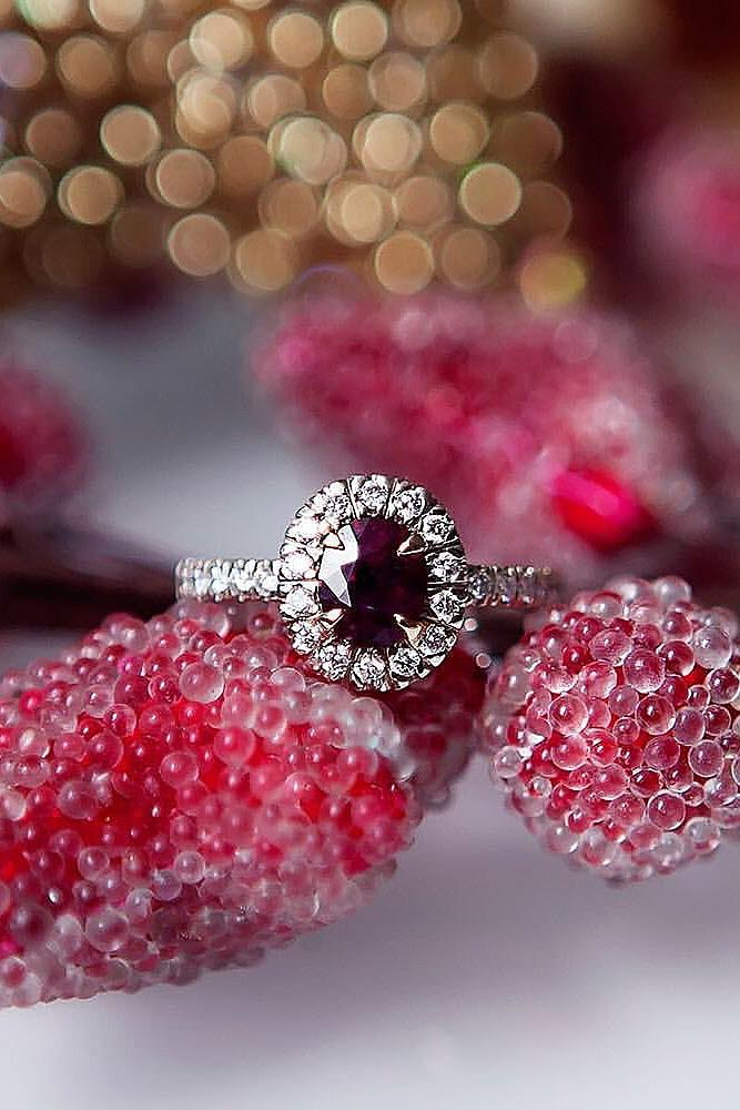ruby engagement rings oval halo white gold pave band