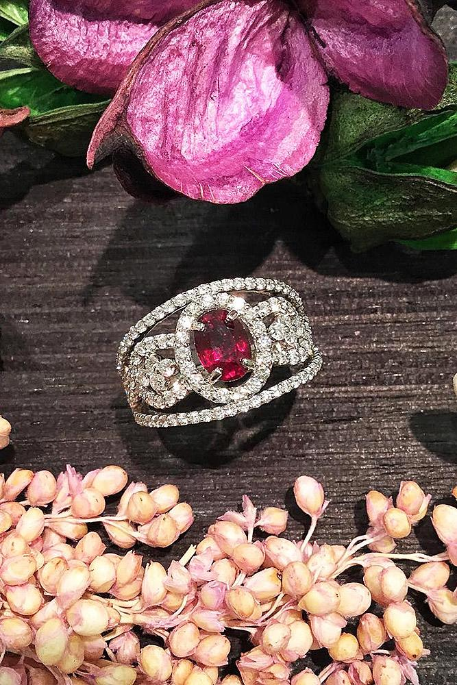 ruby engagement rings oval halo white gold unique
