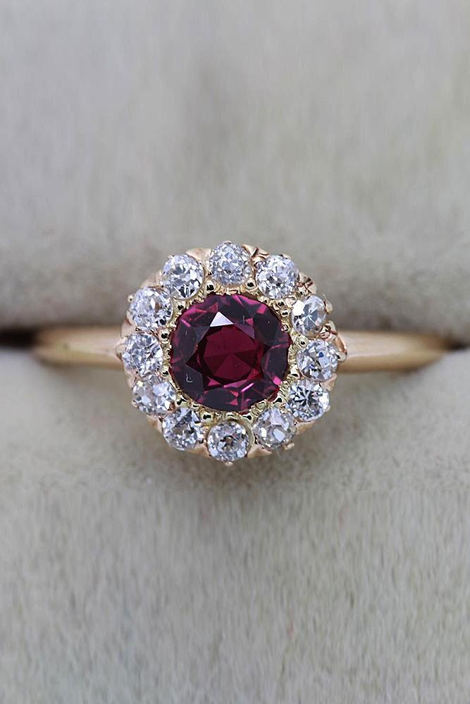 ruby engagement rings round cut floral halo rose gold
