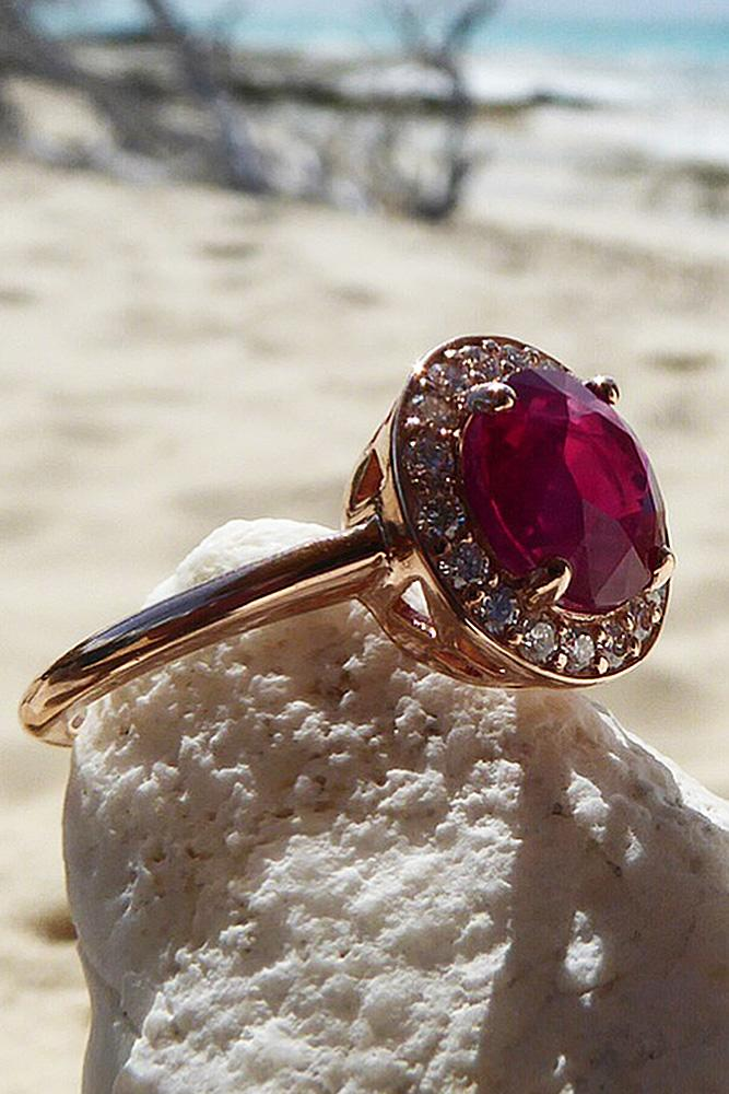 ruby engagement rings round cut rose gold halo