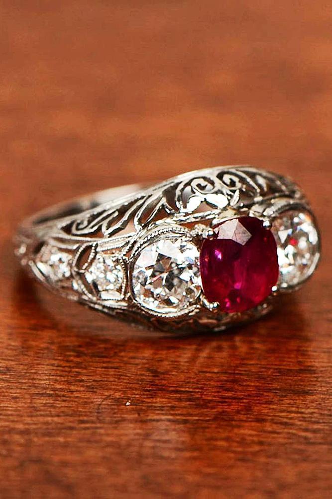 ruby engagement rings round three stones diamonds white gold vintage