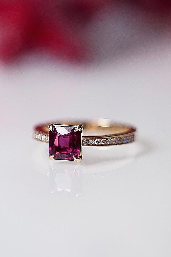 ruby engagement rings solitaire gold princess cut pave band