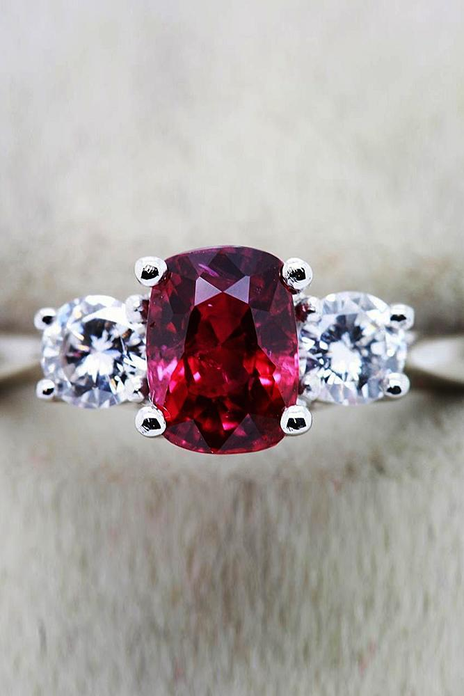 ruby engagement rings solitaire three stones white gold