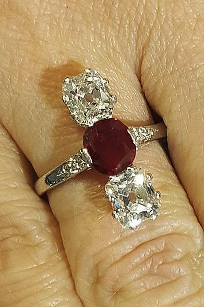 ruby engagement rings three stones gold diamonds