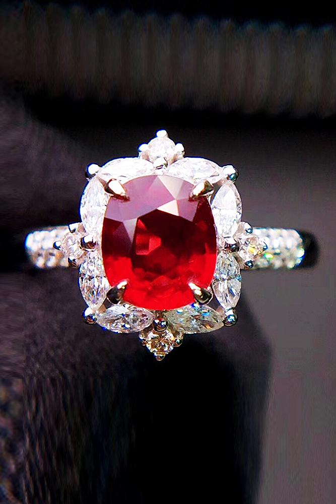 ruby engagement rings unique pave band oval cut modern