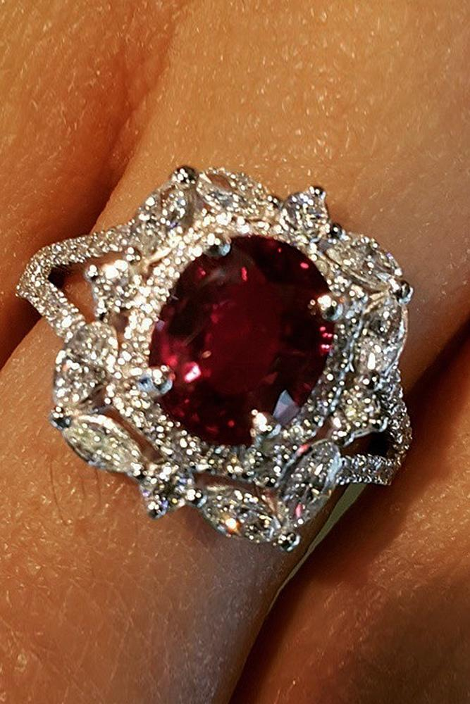 ruby engagement rings white gold oval halo pave band unique