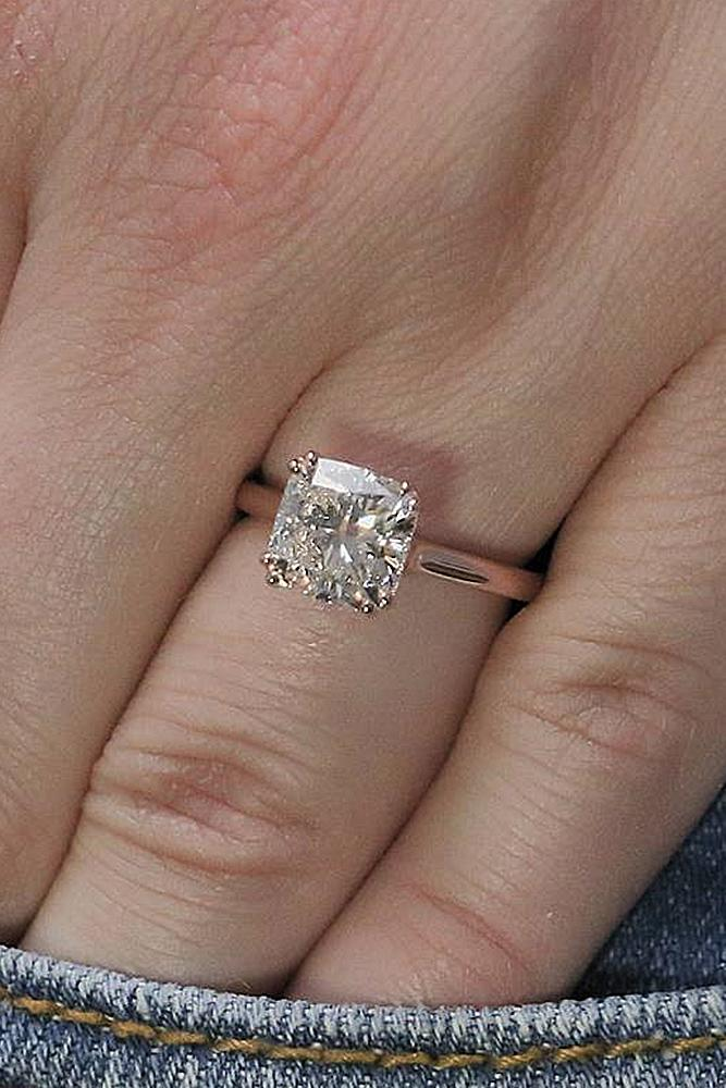 simple engagement rings cushion cut diamond rose gold solitaire