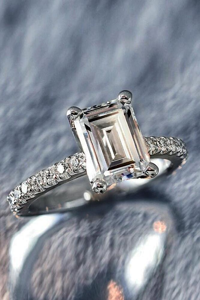 simple engagement rings emerald cut diamond white gold