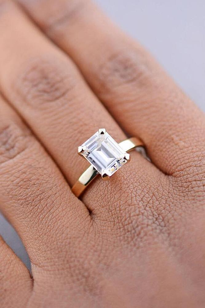 simple engagement rings emerald cut gold solitaire diamond