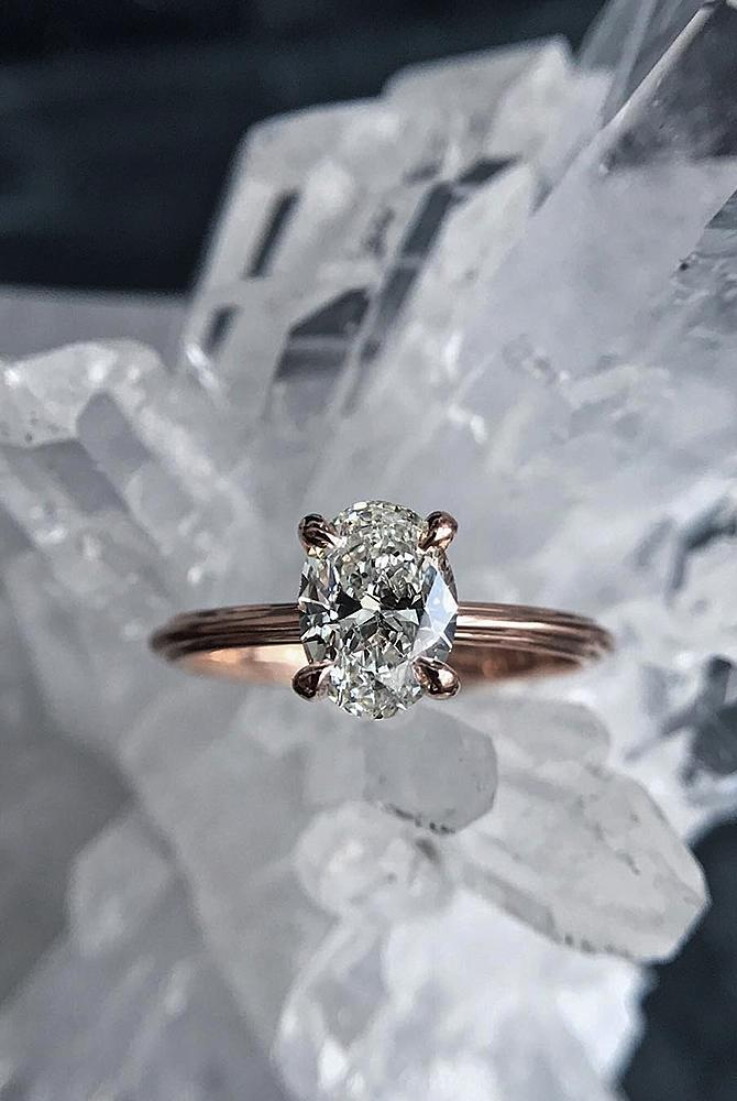 simple engagement rings oval cut diamond solitaire rose gold