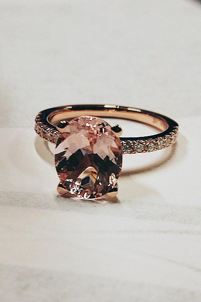 simple engagement rings oval cut rose gold morganite