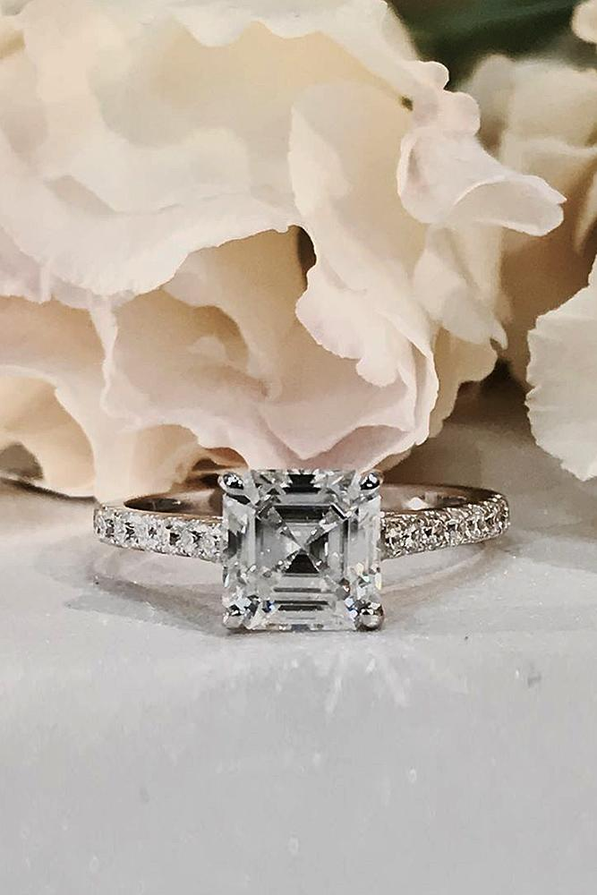 simple engagement rings pave band princess cut white gold diamond