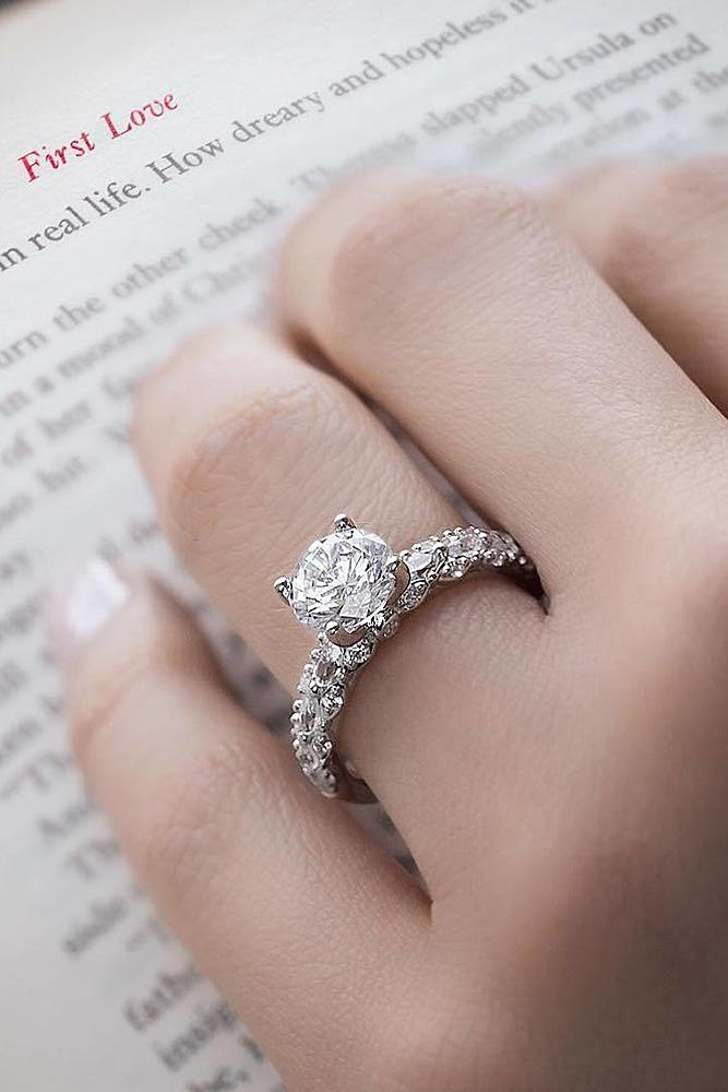 simple engagement rings pave band white gold diamond