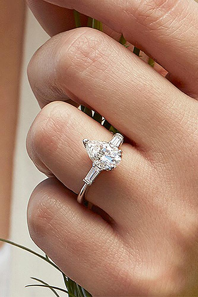 simple engagement rings pear cut white gold solitaire