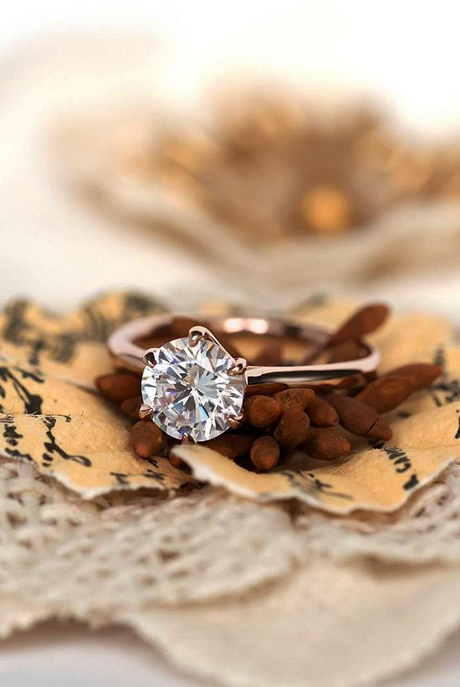 simple engagement rings rose gold diamond round cut