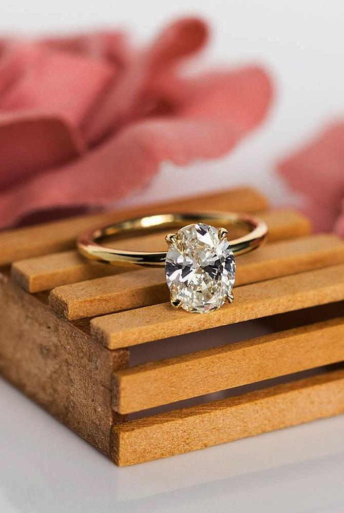 simple engagement rings rose gold solitaire oval cut