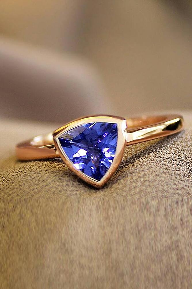 simple engagement rings sapphire rose gold