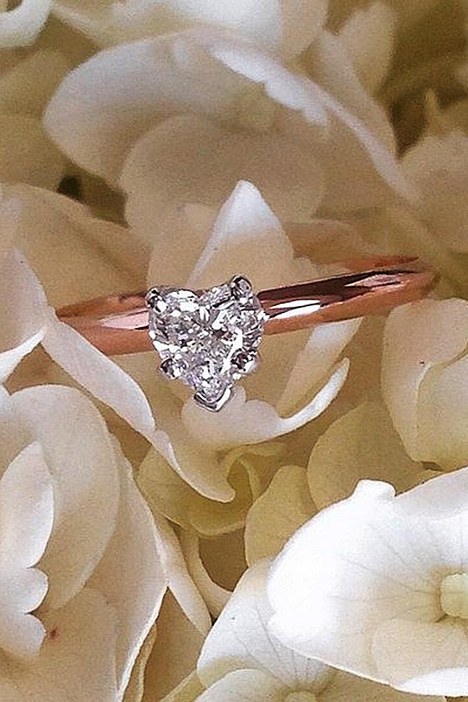 simple engagement rings solitaire heart cut rose gold