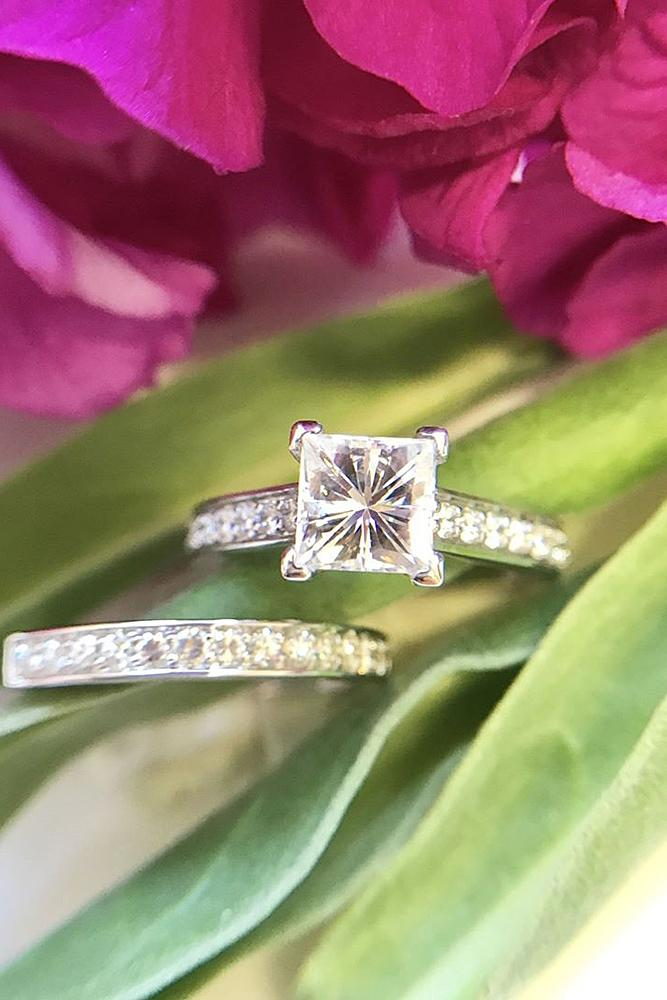 simple engagement rings wedding set pave band princess cut diamond