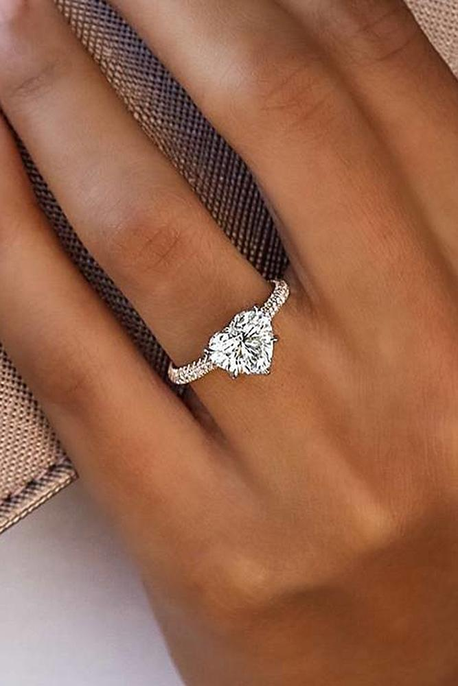 simple engagement rings white gold classic solitaire heart cut diamond sparkling