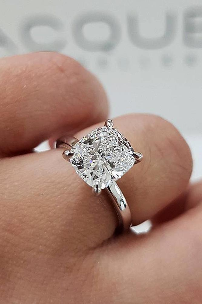 simple engagement rings white gold cushion cut diamond