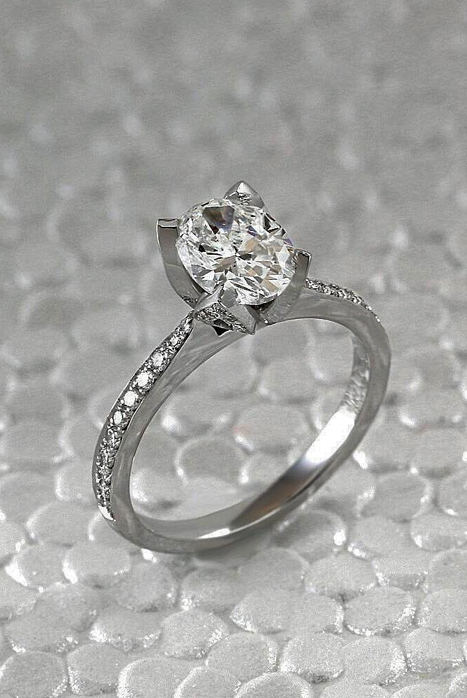 simple engagement rings white gold pave band solitaire