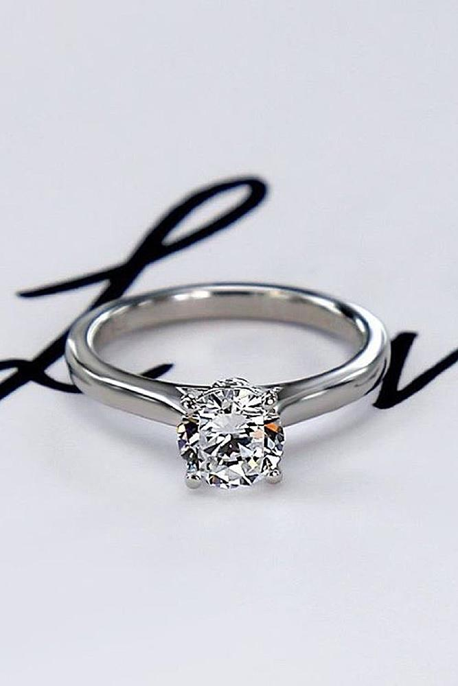 simple engagement rings white gold round cut diamond