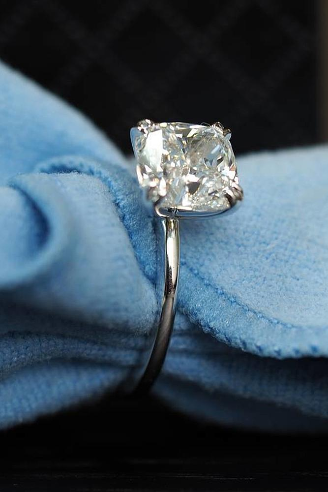 simple engagement rings white gold solitaire cushion cut diamond special