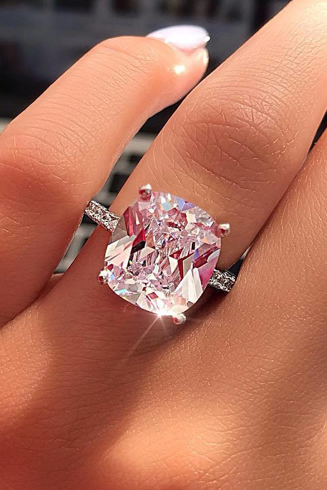 simple engagement rings white gold solitaire cushion cut pink diamond tender
