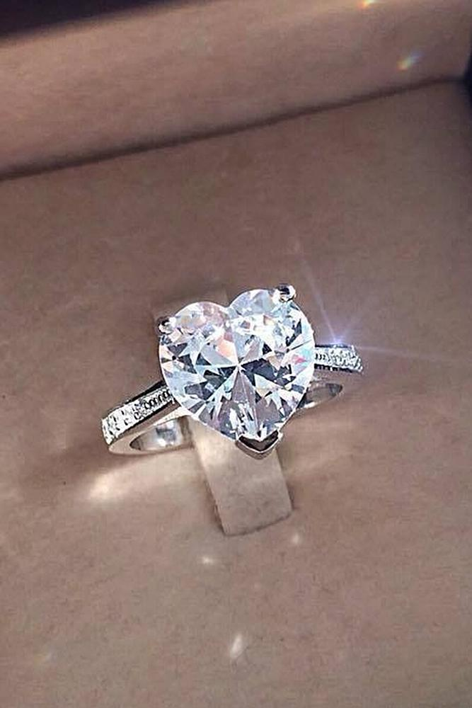 simple engagement rings white gold solitaire heart cut diamond perfect