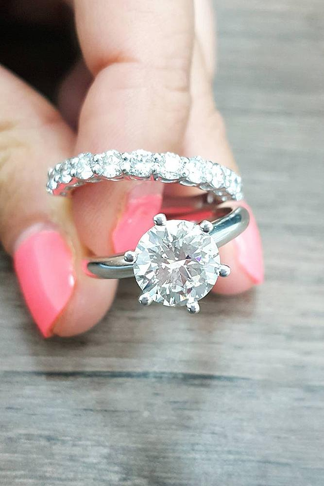 simple engagement rings white gold wedding set round cut