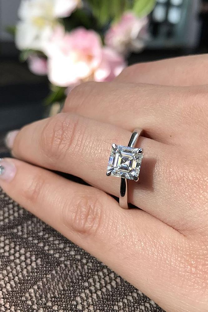 simple engagement rings white gold princess cut diamond
