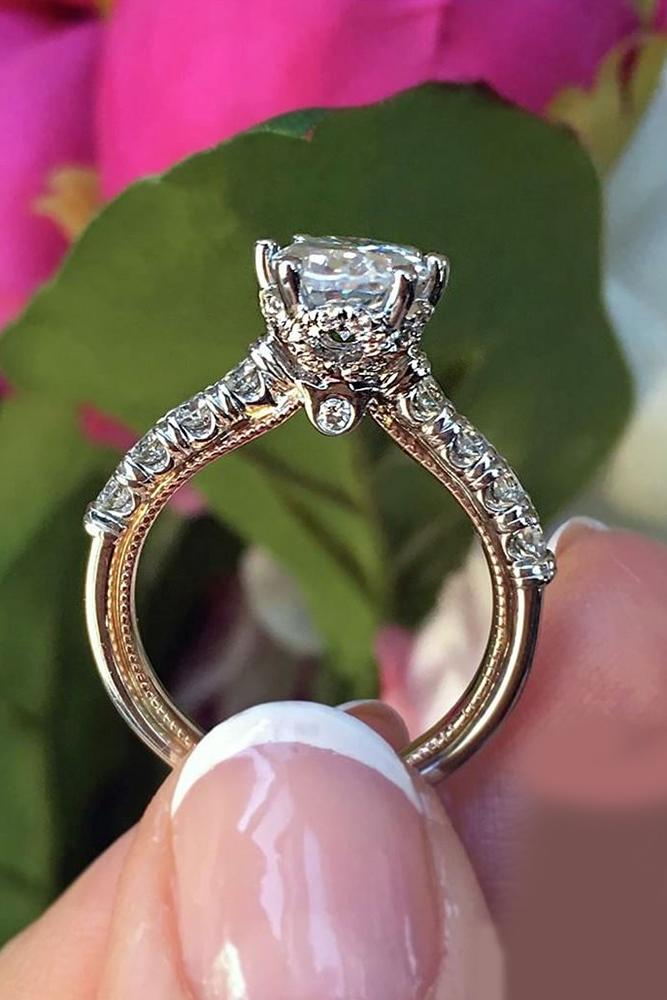 verragio engagement rings cathedral diamond white rose gold