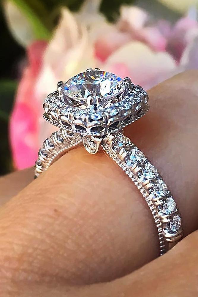 verragio engagement rings halo round cut diamond pave band white gold