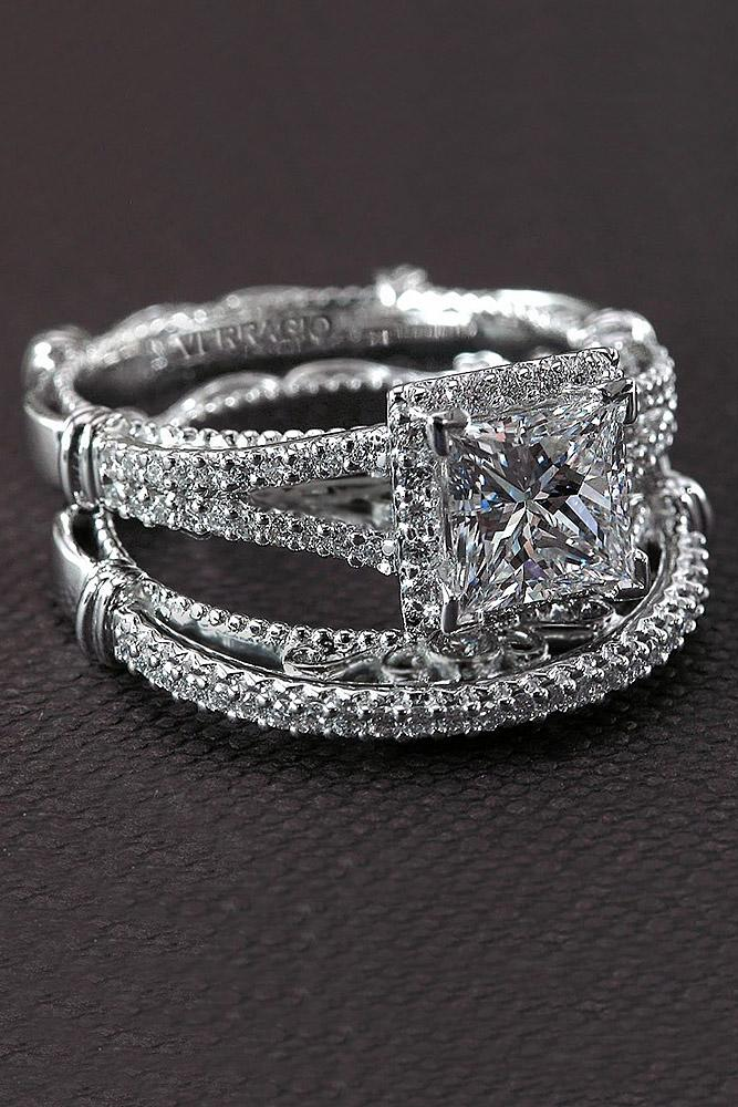 verragio engagement rings pave band princess cut twist weddind set