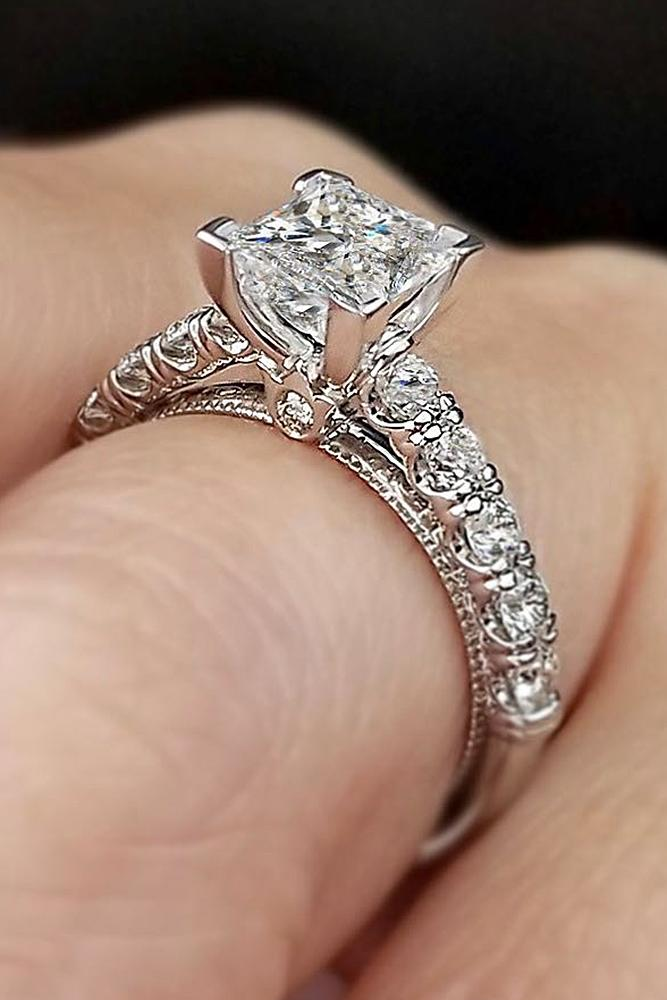 verragio engagement rings princess cut pave band diamond white gold solitaire