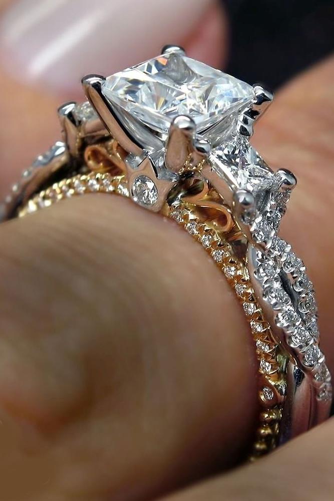 verragio engagement rings three stone diamonds white rose gold brilliants