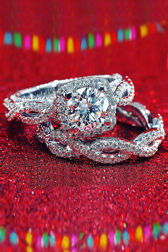 verragio engagement rings twist pave band wedding set halo floral