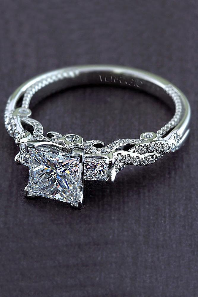 verragio engagement rings twist pave band white gold princess cut diamond