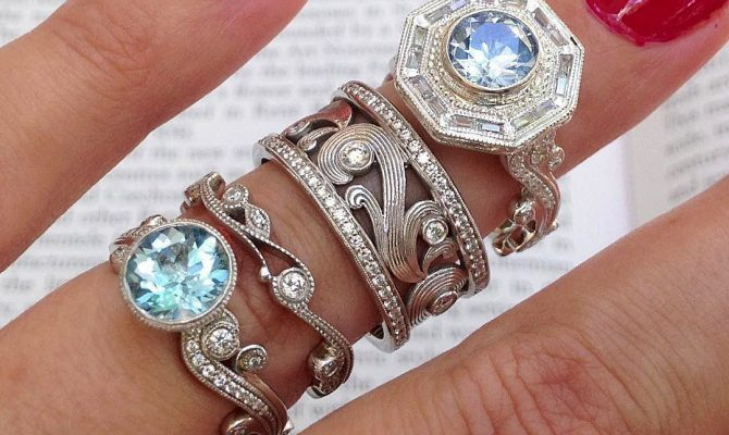 vintage wedding rings gold round cut
