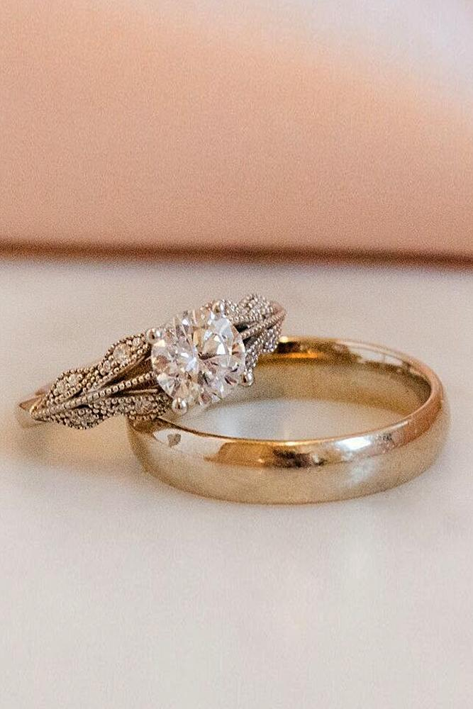 vintage wedding rings gold solitaire round cut