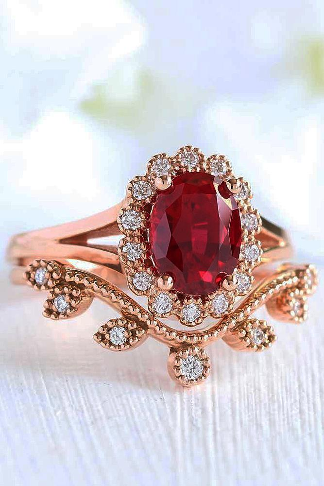 vintage wedding rings oval cut ruby halo rose gold